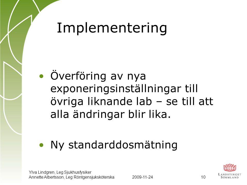 Ylva Lindgren, Leg Sjukhusfysiker Annette Albertsson, Leg Röntgensjuksköterska2009-11-24 10 Implementering •Överföring av nya exponeringsinställningar