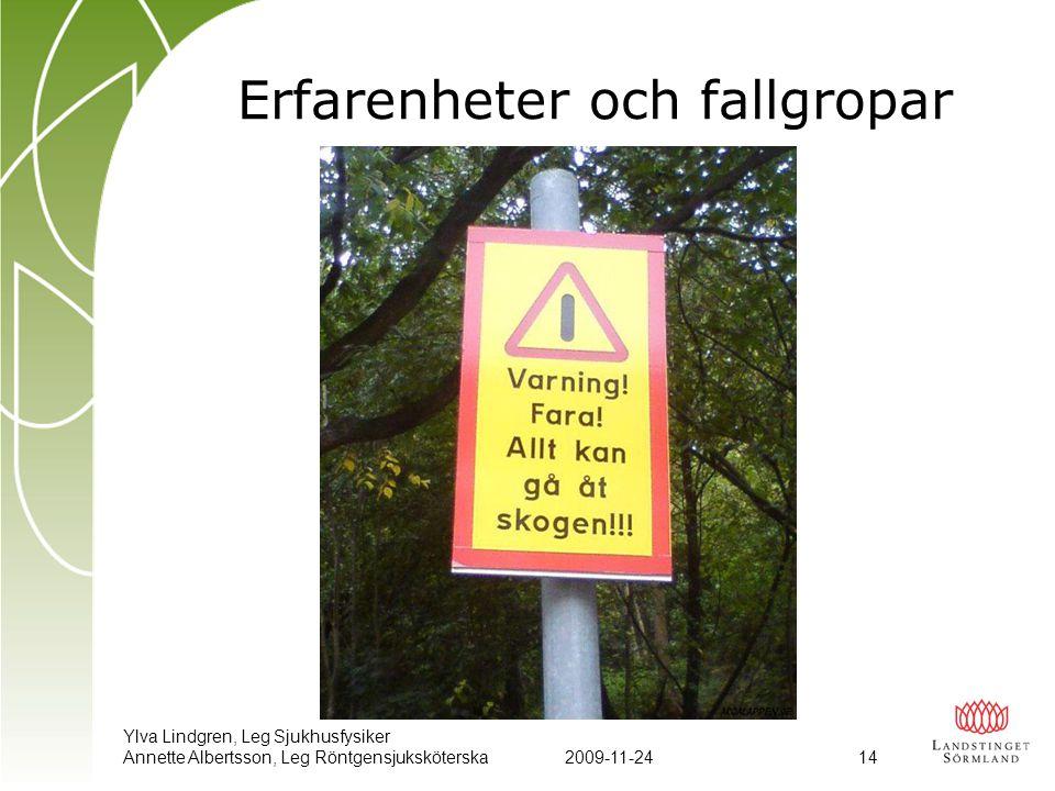 Ylva Lindgren, Leg Sjukhusfysiker Annette Albertsson, Leg Röntgensjuksköterska2009-11-24 14 Erfarenheter och fallgropar