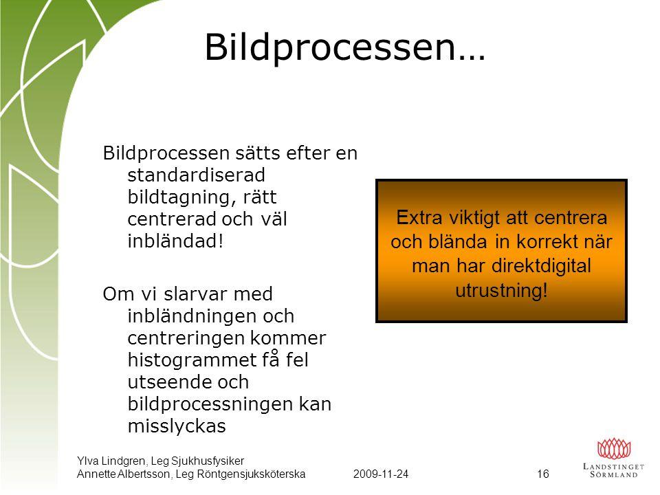 Ylva Lindgren, Leg Sjukhusfysiker Annette Albertsson, Leg Röntgensjuksköterska2009-11-24 16 Bildprocessen… Bildprocessen sätts efter en standardiserad