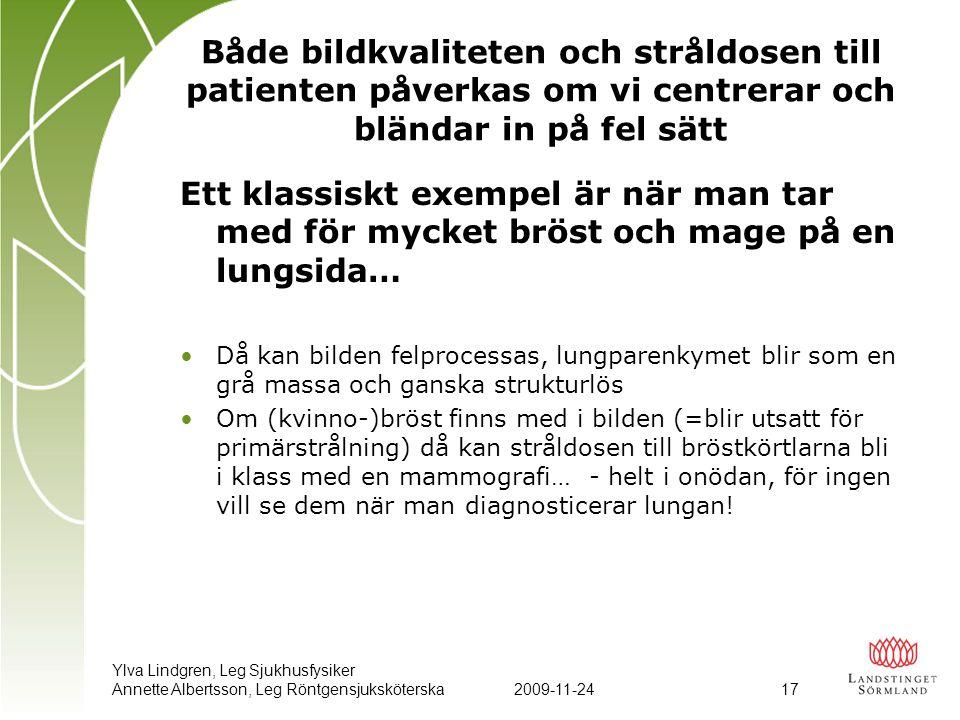 Ylva Lindgren, Leg Sjukhusfysiker Annette Albertsson, Leg Röntgensjuksköterska2009-11-24 17 Både bildkvaliteten och stråldosen till patienten påverkas