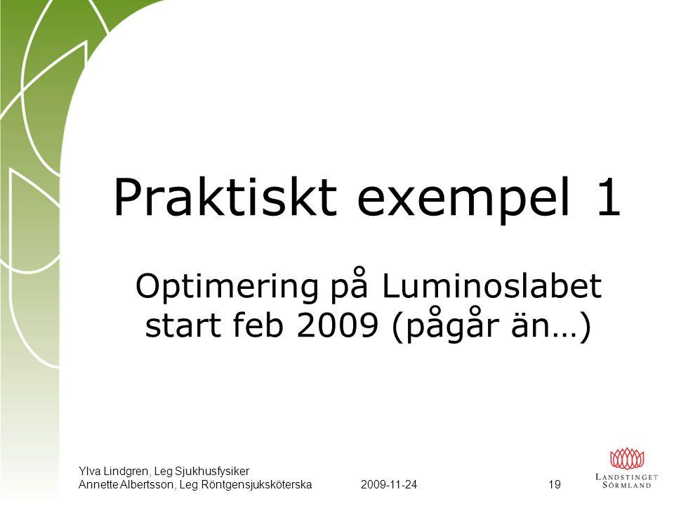 Ylva Lindgren, Leg Sjukhusfysiker Annette Albertsson, Leg Röntgensjuksköterska2009-11-24 19 Praktiskt exempel 1 Optimering på Luminoslabet start feb 2