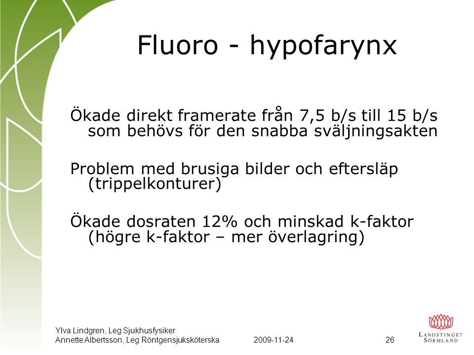 Ylva Lindgren, Leg Sjukhusfysiker Annette Albertsson, Leg Röntgensjuksköterska2009-11-24 26 Fluoro - hypofarynx Ökade direkt framerate från 7,5 b/s ti