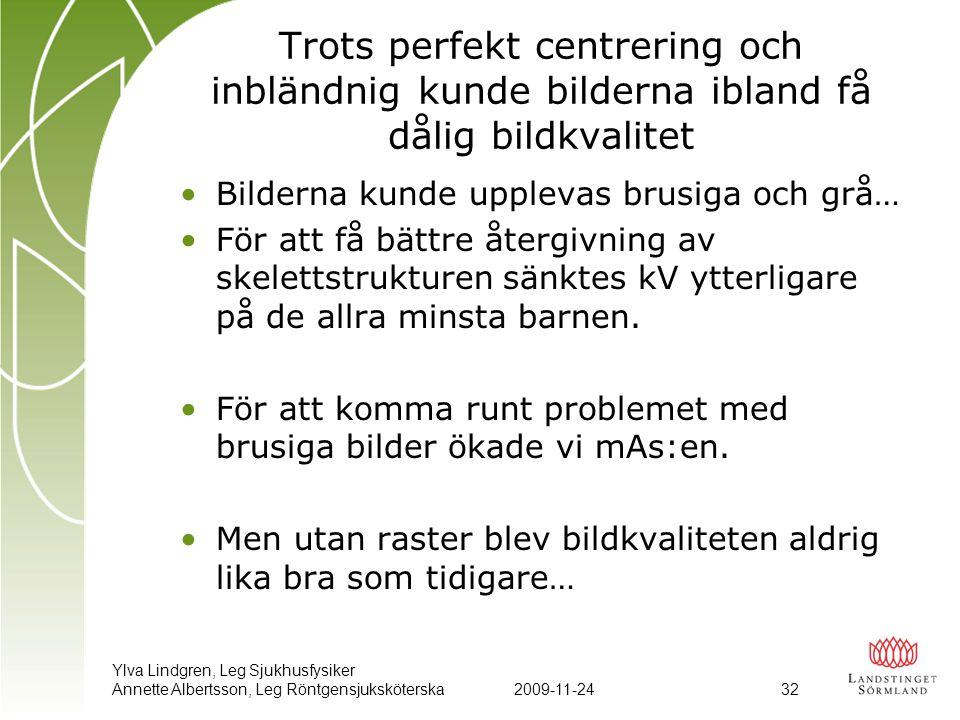 Ylva Lindgren, Leg Sjukhusfysiker Annette Albertsson, Leg Röntgensjuksköterska2009-11-24 32 Trots perfekt centrering och inbländnig kunde bilderna ibl
