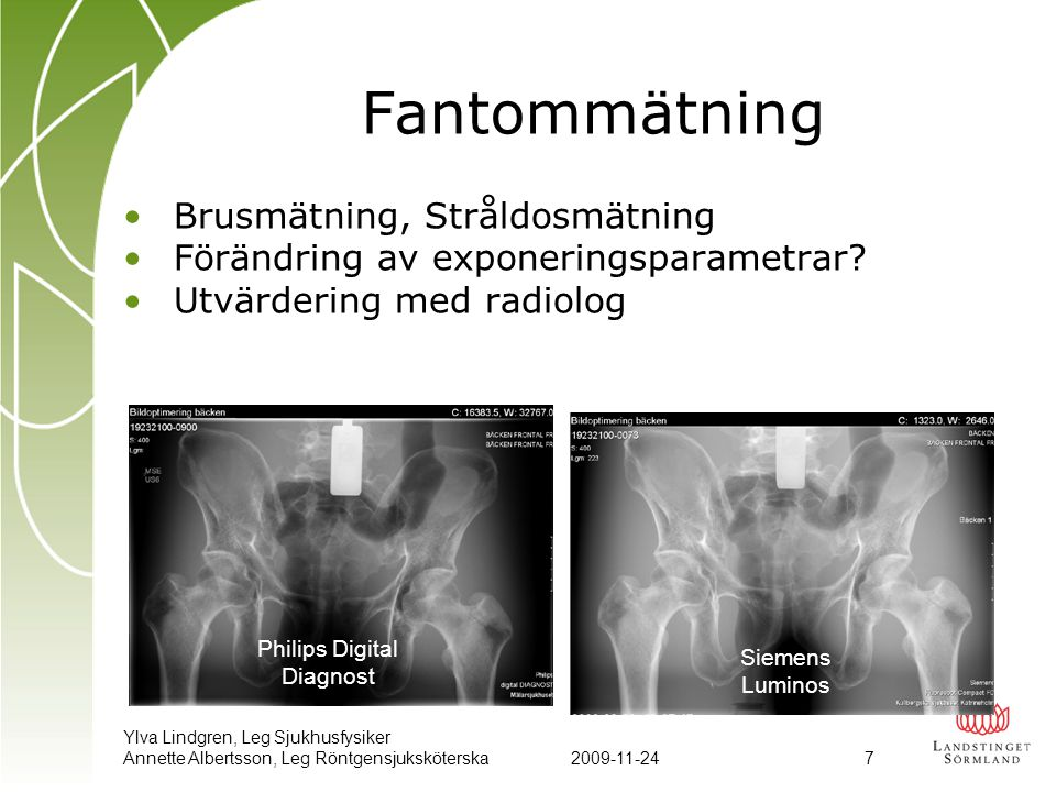 Ylva Lindgren, Leg Sjukhusfysiker Annette Albertsson, Leg Röntgensjuksköterska2009-11-24 7 Fantommätning •Brusmätning, Stråldosmätning •Förändring av