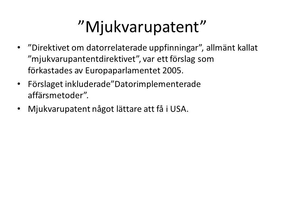 Mjukvarupatent • Direktivet om datorrelaterade uppfinningar , allmänt kallat mjukvarupantentdirektivet , var ett förslag som förkastades av Europaparlamentet 2005.
