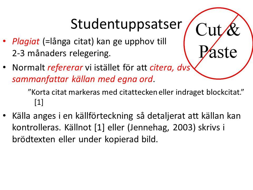 Studentuppsatser • Plagiat (=långa citat) kan ge upphov till 2-3 månaders relegering.