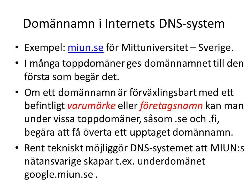 Domännamn i Internets DNS-system • Exempel: miun.se för Mittuniversitet – Sverige.miun.se • I många toppdomäner ges domännamnet till den första som begär det.