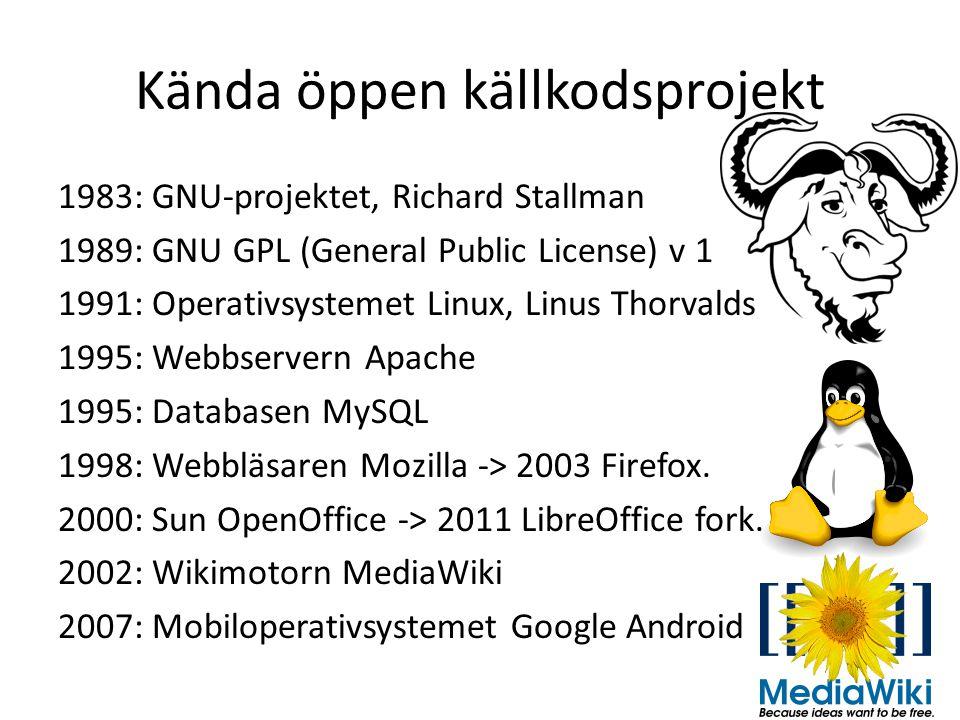 Kända öppen källkodsprojekt 1983: GNU-projektet, Richard Stallman 1989: GNU GPL (General Public License) v 1 1991: Operativsystemet Linux, Linus Thorvalds 1995: Webbservern Apache 1995: Databasen MySQL 1998: Webbläsaren Mozilla -> 2003 Firefox.