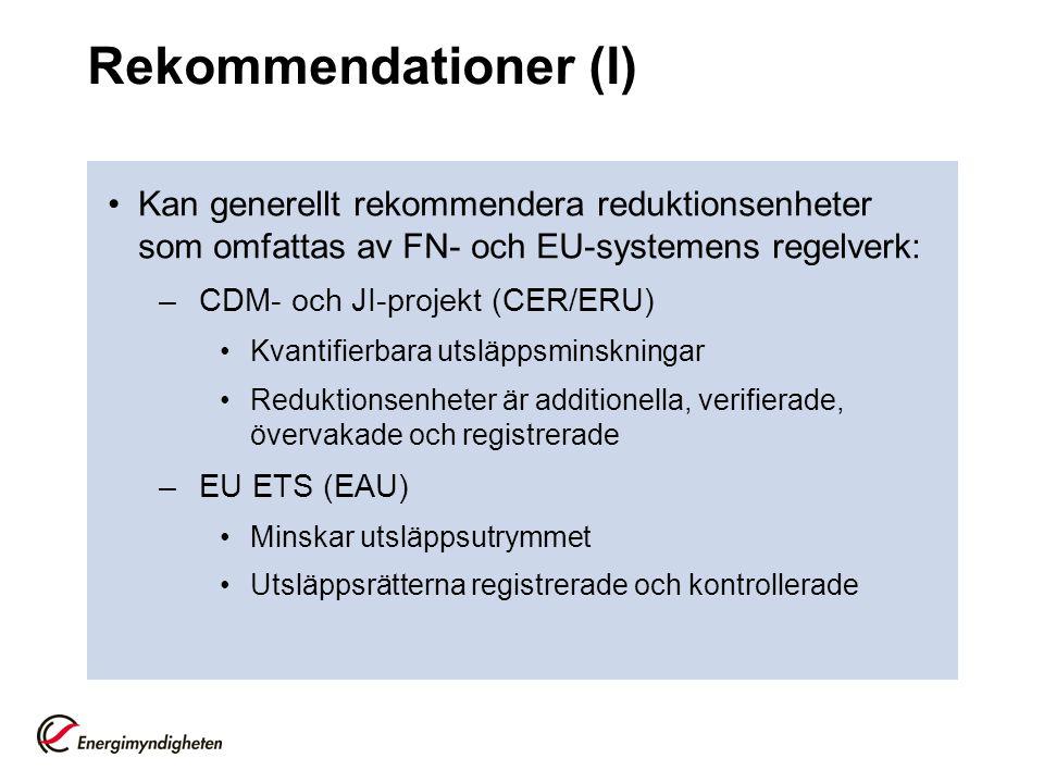 Rekommendationer (I) •Kan generellt rekommendera reduktionsenheter som omfattas av FN- och EU-systemens regelverk: –CDM- och JI-projekt (CER/ERU) •Kvantifierbara utsläppsminskningar •Reduktionsenheter är additionella, verifierade, övervakade och registrerade –EU ETS (EAU) •Minskar utsläppsutrymmet •Utsläppsrätterna registrerade och kontrollerade