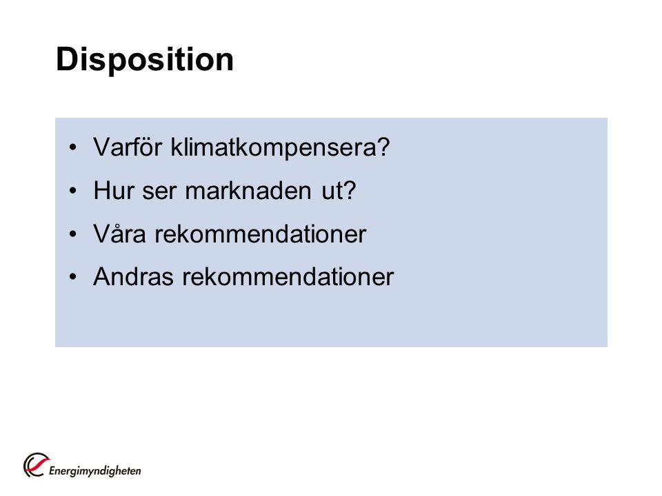 Disposition •Varför klimatkompensera? •Hur ser marknaden ut? •Våra rekommendationer •Andras rekommendationer