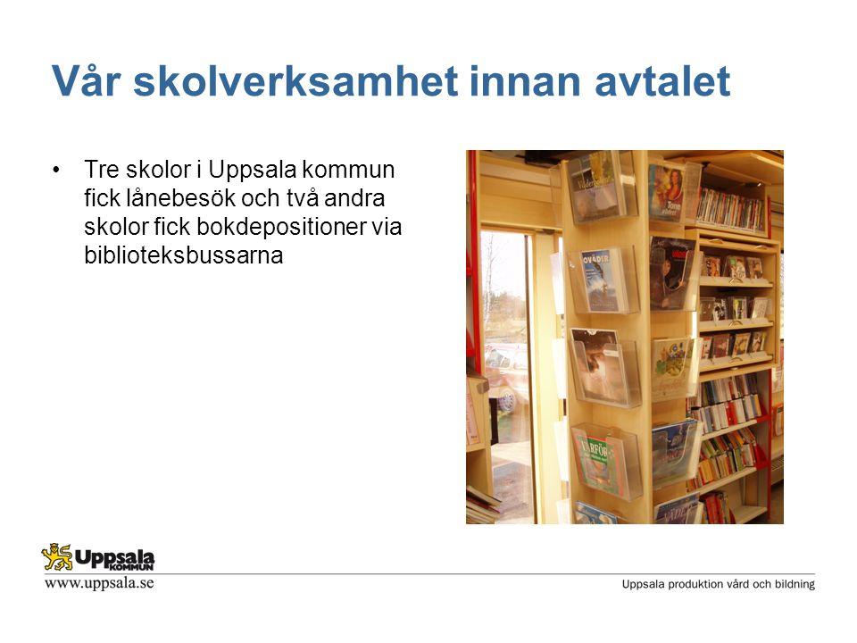 Vår skolverksamhet innan avtalet •Tre skolor i Uppsala kommun fick lånebesök och två andra skolor fick bokdepositioner via biblioteksbussarna