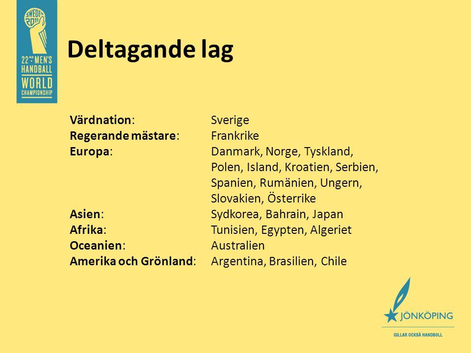 Värdnation:Sverige Regerande mästare: Frankrike Europa: Danmark, Norge, Tyskland, Polen, Island, Kroatien, Serbien, Spanien, Rumänien, Ungern, Slovakien, Österrike Asien: Sydkorea, Bahrain, Japan Afrika: Tunisien, Egypten, Algeriet Oceanien: Australien Amerika och Grönland: Argentina, Brasilien, Chile Deltagande lag
