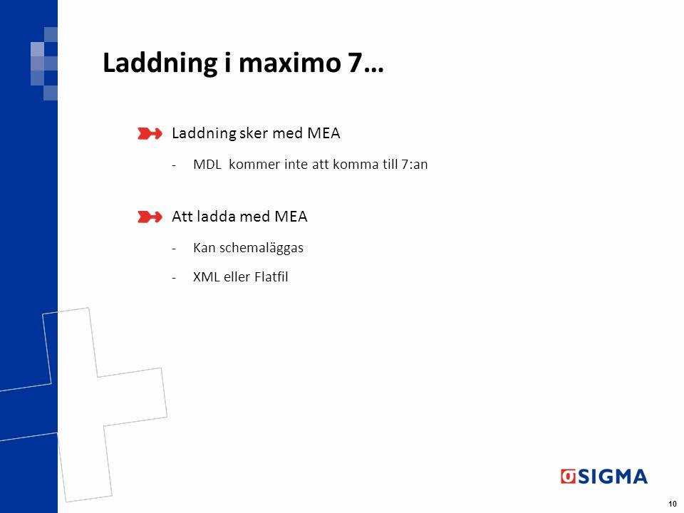 10 Laddning i maximo 7… Laddning sker med MEA -MDL kommer inte att komma till 7:an Att ladda med MEA -Kan schemaläggas -XML eller Flatfil