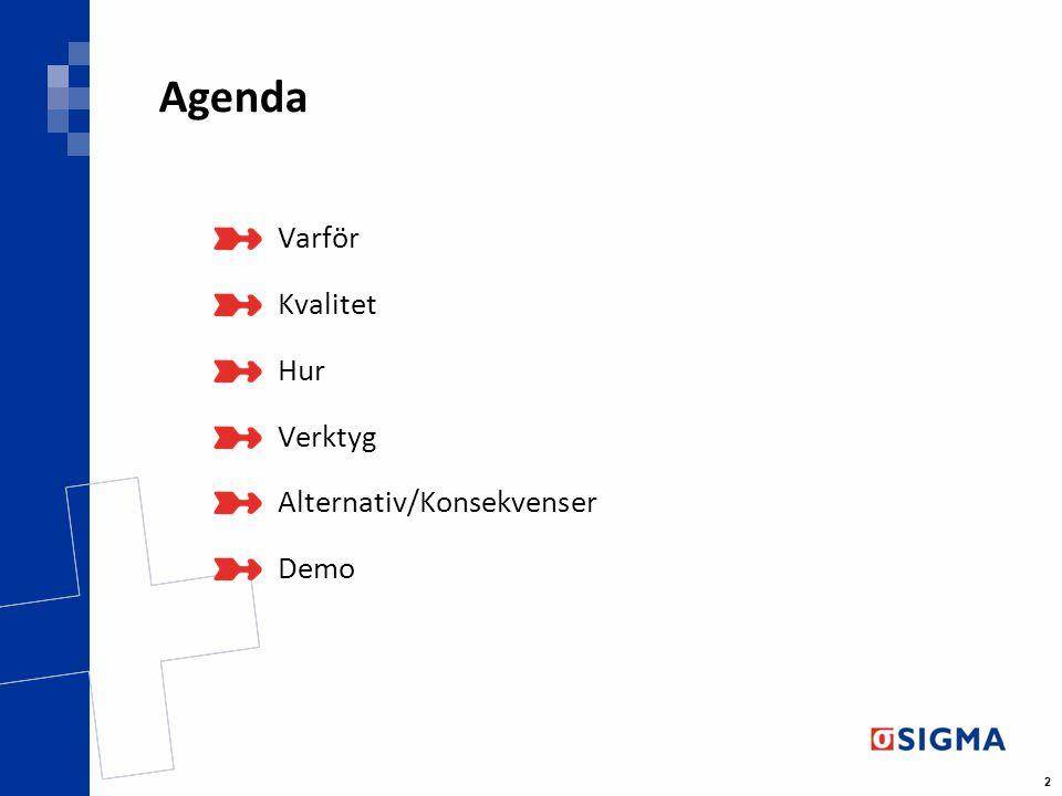 2 Agenda Varför Kvalitet Hur Verktyg Alternativ/Konsekvenser Demo