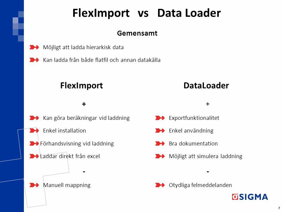 7 FlexImport vs Data Loader FlexImport + Kan göra beräkningar vid laddning Enkel installation Förhandsvisning vid laddning Laddar direkt från excel -