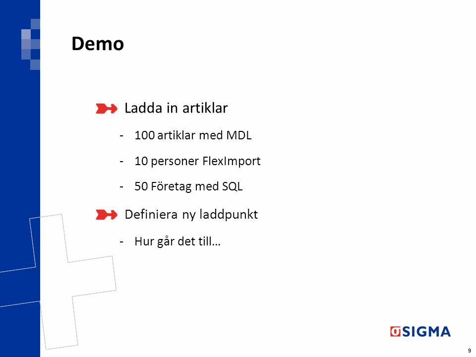 9 Demo Ladda in artiklar -100 artiklar med MDL -10 personer FlexImport -50 Företag med SQL Definiera ny laddpunkt -Hur går det till…