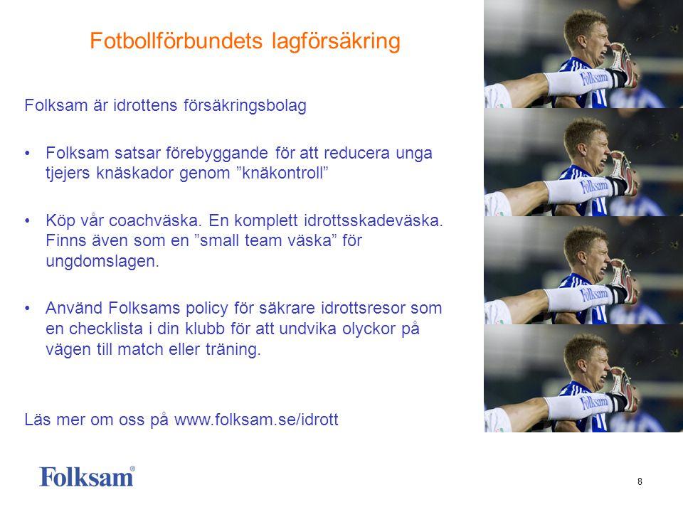 8 Folksam är idrottens försäkringsbolag • Folksam satsar förebyggande för att reducera unga tjejers knäskador genom knäkontroll • Köp vår coachväska.
