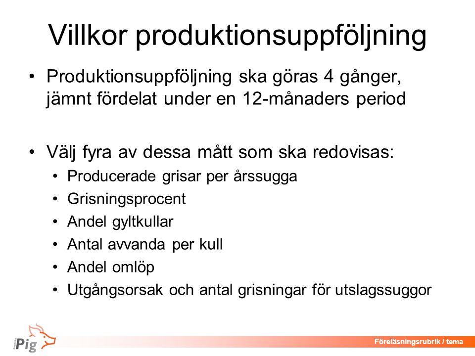 Föreläsningsrubrik / tema Bruksbesättningar Vilka mått går att ta fram.