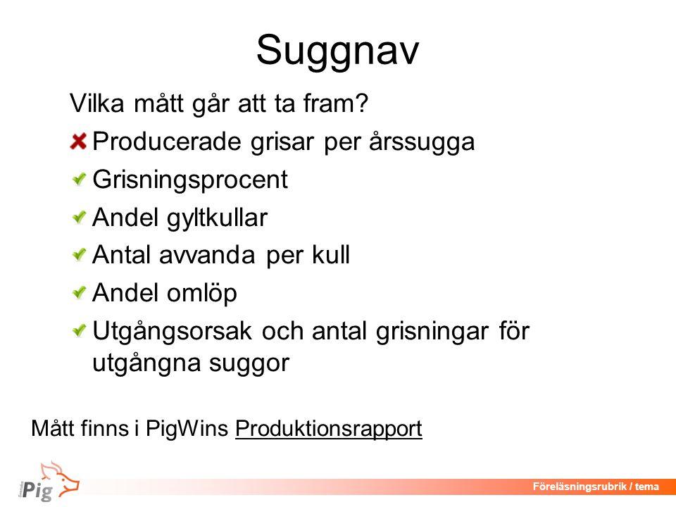 Föreläsningsrubrik / tema Suggnav Vilka mått går att ta fram.