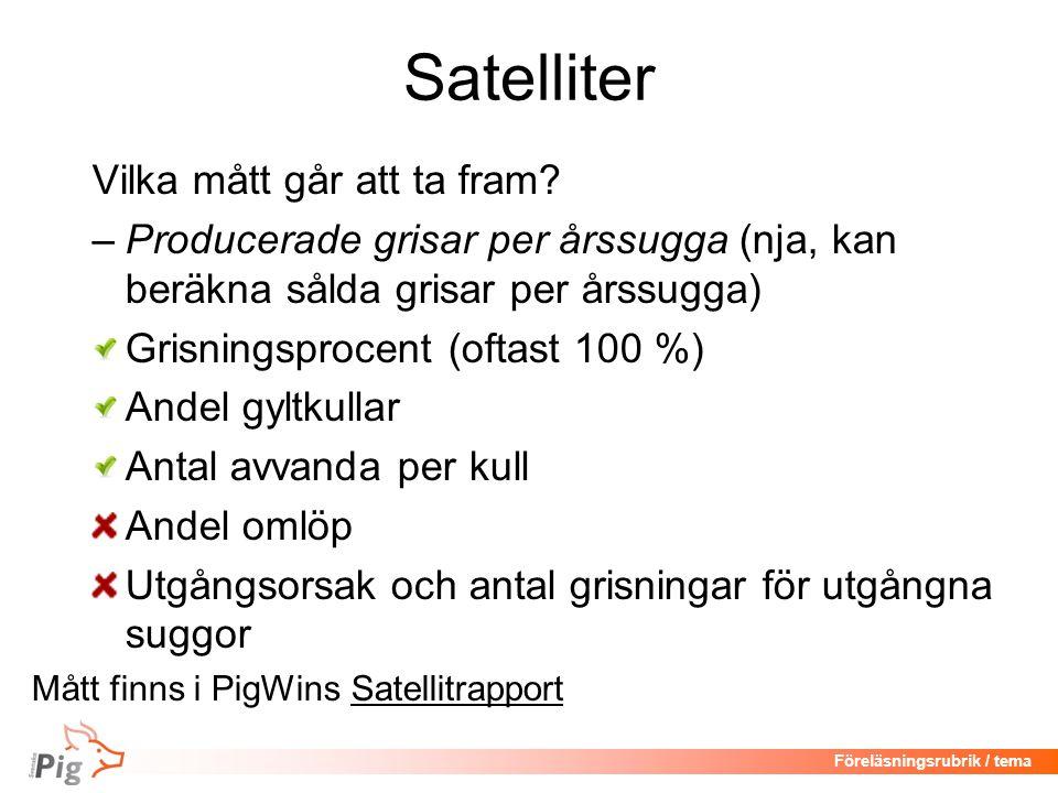 Föreläsningsrubrik / tema Satelliter Vilka mått går att ta fram.