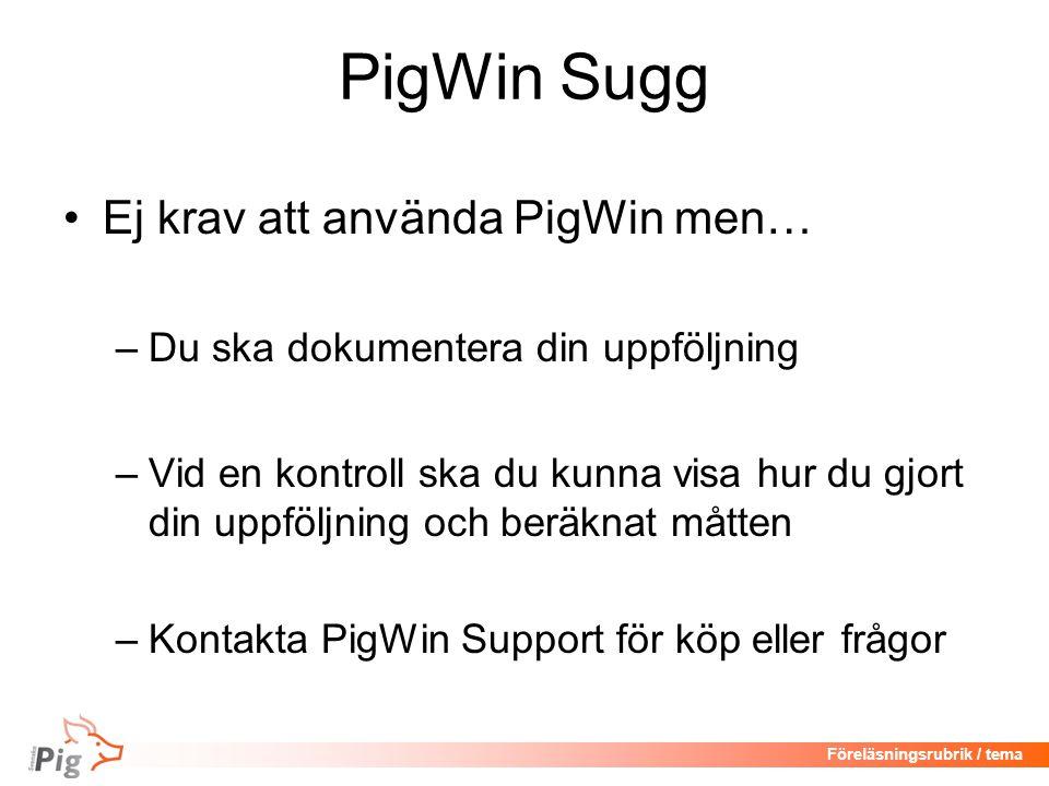 Föreläsningsrubrik / tema PigWin Sugg •Ej krav att använda PigWin men… –Du ska dokumentera din uppföljning –Vid en kontroll ska du kunna visa hur du gjort din uppföljning och beräknat måtten –Kontakta PigWin Support för köp eller frågor