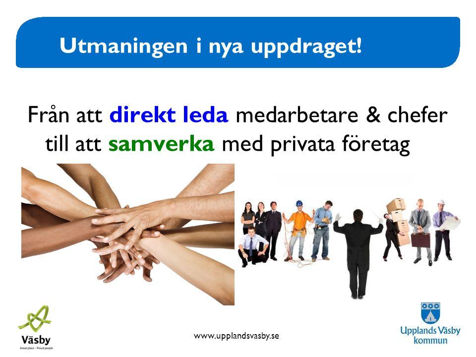 www.upplandsvasby.se Utmaningen i nya uppdraget! Från att direkt leda medarbetare & chefer till att samverka med privata företag