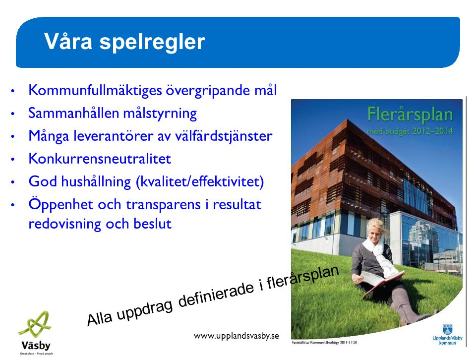 www.upplandsvasby.se Våra spelregler • Kommunfullmäktiges övergripande mål • Sammanhållen målstyrning • Många leverantörer av välfärdstjänster • Konku