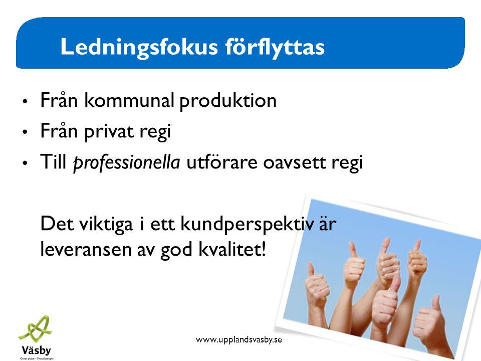 www.upplandsvasby.se Ledningsfokus förflyttas • Från kommunal produktion • Från privat regi • Till professionella utförare oavsett regi Det viktiga i