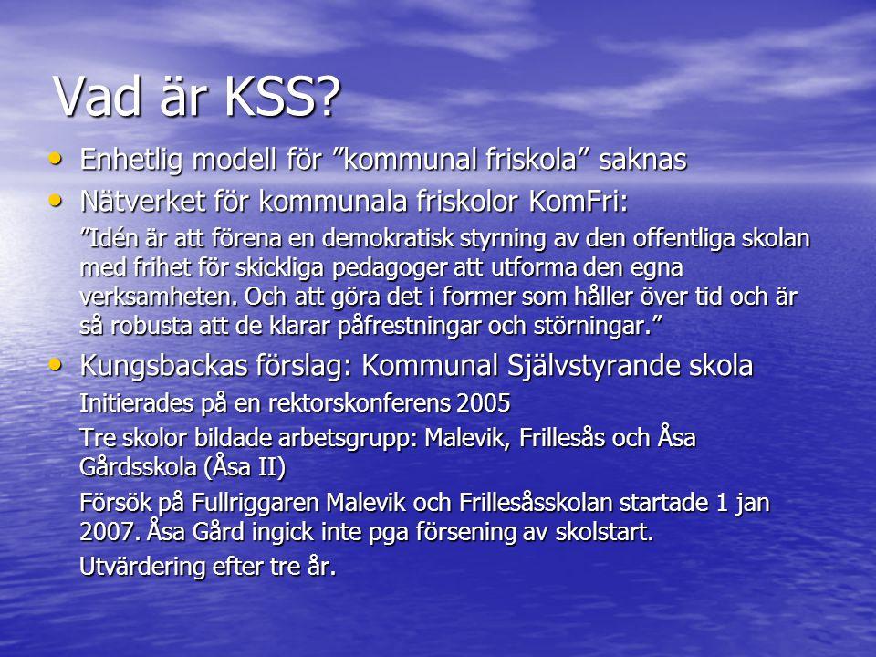 """Vad är KSS? • Enhetlig modell för """"kommunal friskola"""" saknas • Nätverket för kommunala friskolor KomFri: """"Idén är att förena en demokratisk styrning a"""