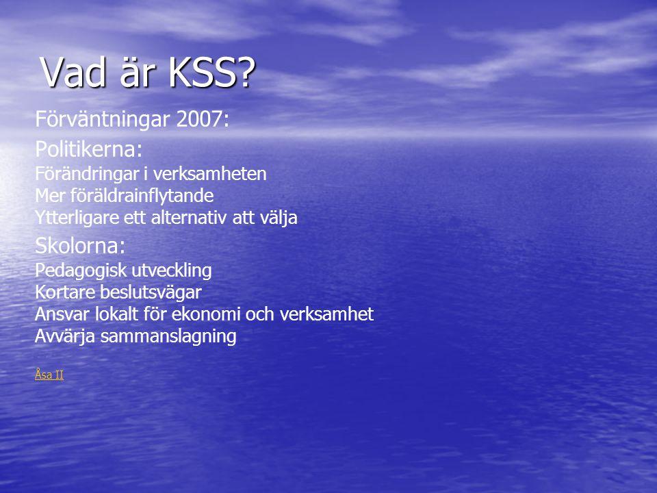 Vad är KSS? Förväntningar 2007: Politikerna: Förändringar i verksamheten Mer föräldrainflytande Ytterligare ett alternativ att välja Skolorna: Pedagog