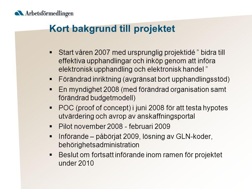 """Kort bakgrund till projektet  Start våren 2007 med ursprunglig projektidé """" bidra till effektiva upphandlingar och inköp genom att införa elektronisk"""