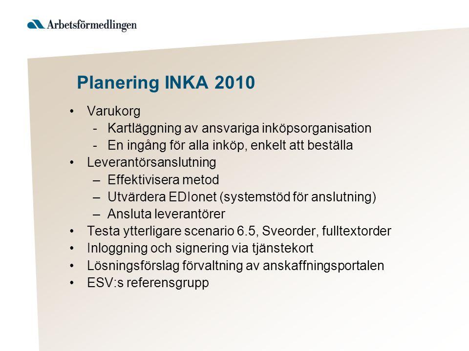 Planering INKA 2010 •Varukorg -Kartläggning av ansvariga inköpsorganisation -En ingång för alla inköp, enkelt att beställa •Leverantörsanslutning –Eff