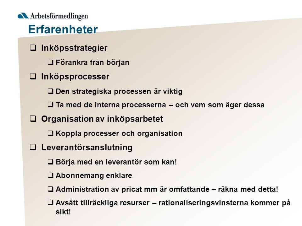  Inköpsstrategier  Förankra från början  Inköpsprocesser  Den strategiska processen är viktig  Ta med de interna processerna – och vem som äger d