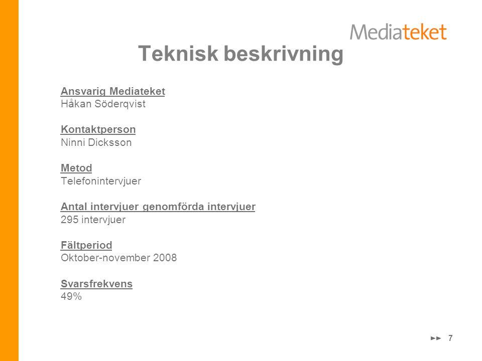 7 Teknisk beskrivning Ansvarig Mediateket Håkan Söderqvist Kontaktperson Ninni Dicksson Metod Telefonintervjuer Antal intervjuer genomförda intervjuer