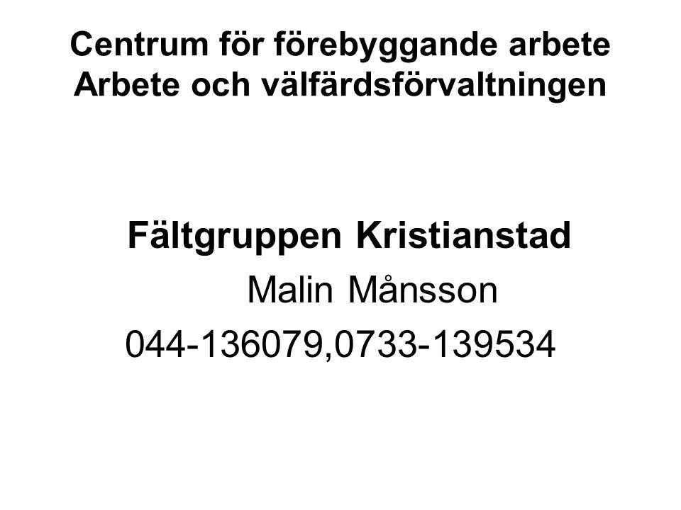 Centrum för förebyggande arbete Arbete och välfärdsförvaltningen Fältgruppen Kristianstad Malin Månsson 044-136079,0733-139534