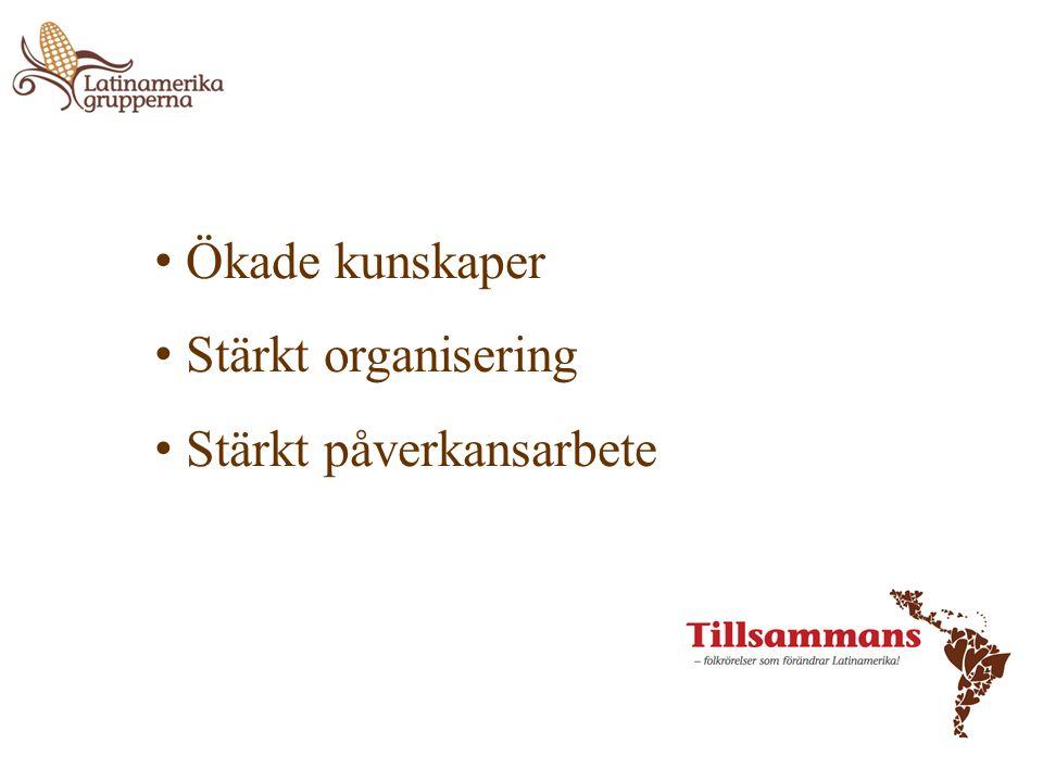 • Ökade kunskaper • Stärkt organisering • Stärkt påverkansarbete