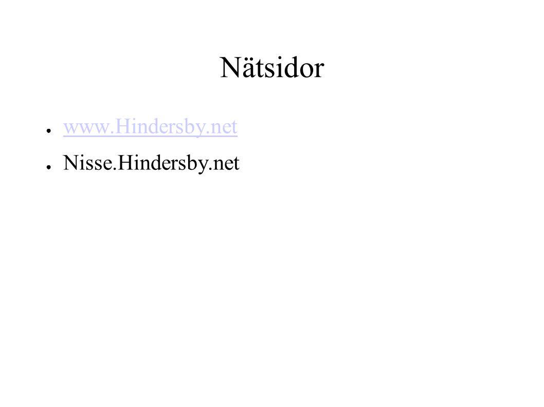 Nätsidor ● www.Hindersby.net www.Hindersby.net ● Nisse.Hindersby.net