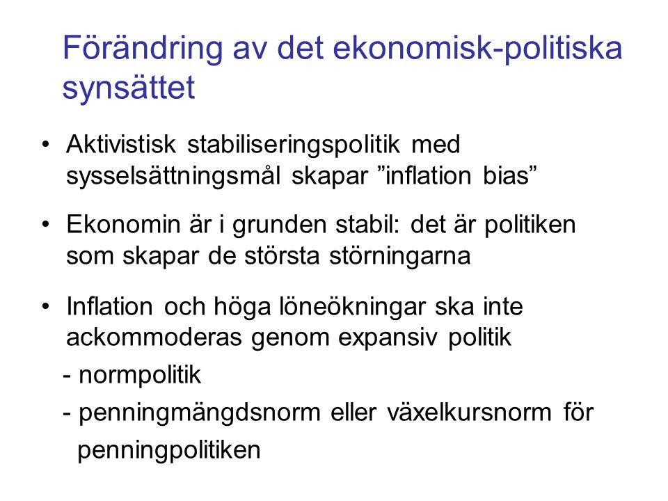 """Förändring av det ekonomisk-politiska synsättet •Aktivistisk stabiliseringspolitik med sysselsättningsmål skapar """"inflation bias"""" •Ekonomin är i grund"""