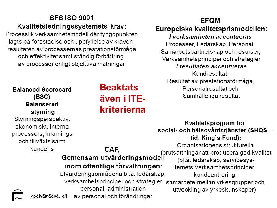 ‹päivämäärä, aika›‹#› Markku Ukkonen EFQM Europeiska kvalitetsprismodellen: I verksamheten accentueras Processer, Ledarskap, Personal, Samarbetspartnerskap och resurser, Verksamhetsprinciper och strategier I resultaten accentueras Kundresultat, Resultat av prestationsförmåga, Personalresultat och Samhälleliga resultat Beaktats även i ITE- kriterierna SFS ISO 9001 Kvalitetsledningssystemets krav: Processlik verksamhetsmodell där tyngdpunkten lagts på föreståelse och uppfyllelse av kraven, resultaten av processernas prestationsförmåga och effektivitet samt ständig förbättring av processer enligt objektiva mätningar Kvalitetsprogram för social- och hälsovårdstjänster (SHQS – tid.