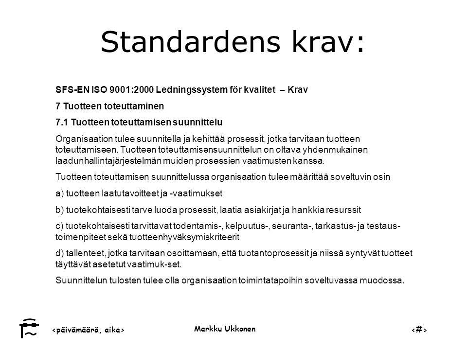 ‹päivämäärä, aika›‹#› Markku Ukkonen Standardens krav: SFS-EN ISO 9001:2000 Ledningssystem för kvalitet – Krav 7 Tuotteen toteuttaminen 7.1 Tuotteen toteuttamisen suunnittelu Organisaation tulee suunnitella ja kehittää prosessit, jotka tarvitaan tuotteen toteuttamiseen.