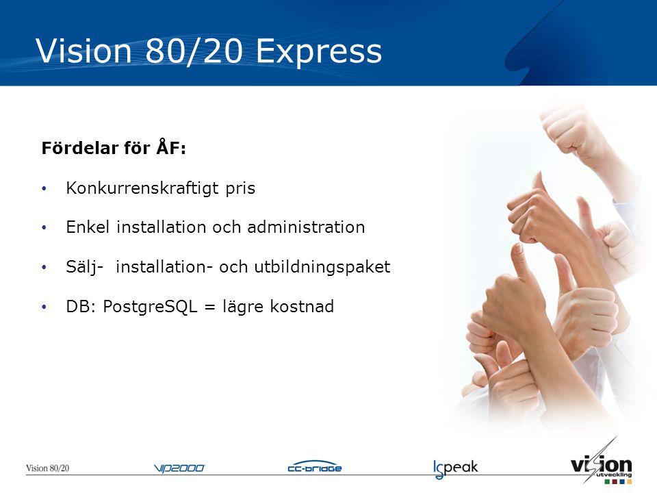 Vision 80/20 Express Fördelar för ÅF: • Konkurrenskraftigt pris • Enkel installation och administration • Sälj- installation- och utbildningspaket • DB: PostgreSQL = lägre kostnad