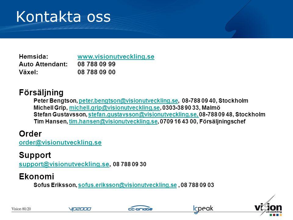Kontakta oss Hemsida: www.visionutveckling.sewww.visionutveckling.se Auto Attendant: 08 788 09 99 Växel:08 788 09 00 Försäljning Peter Bengtson, peter