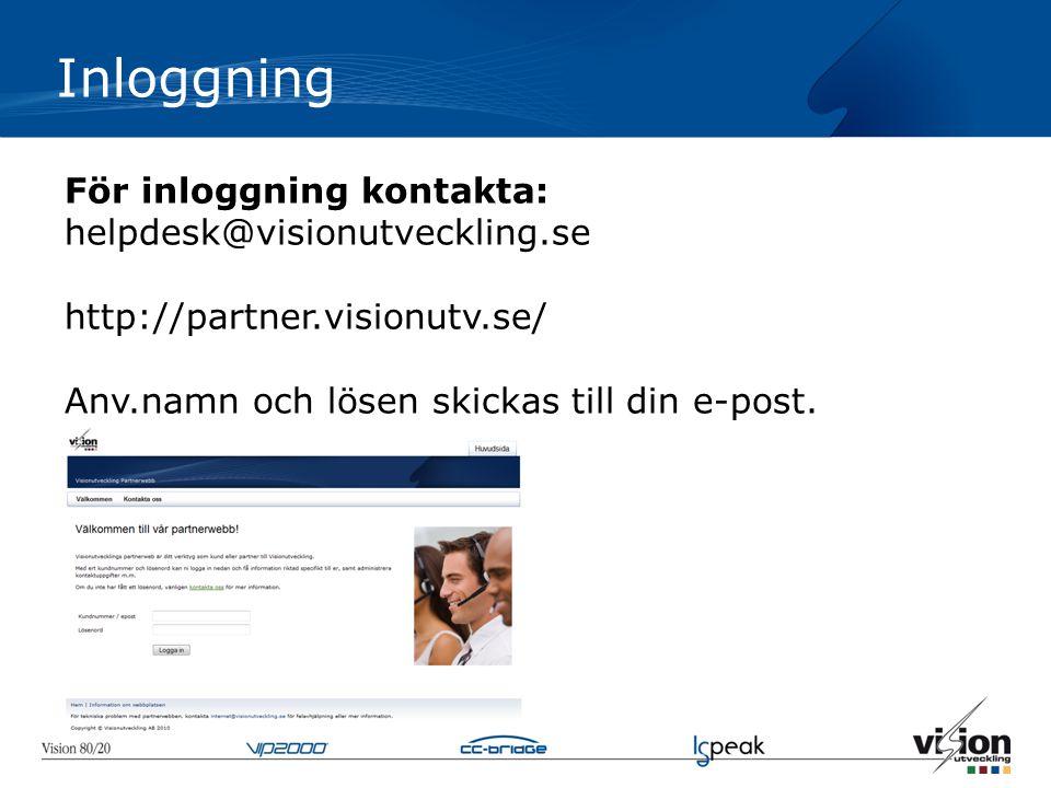 För inloggning kontakta: helpdesk@visionutveckling.se http://partner.visionutv.se/ Anv.namn och lösen skickas till din e-post. Inloggning