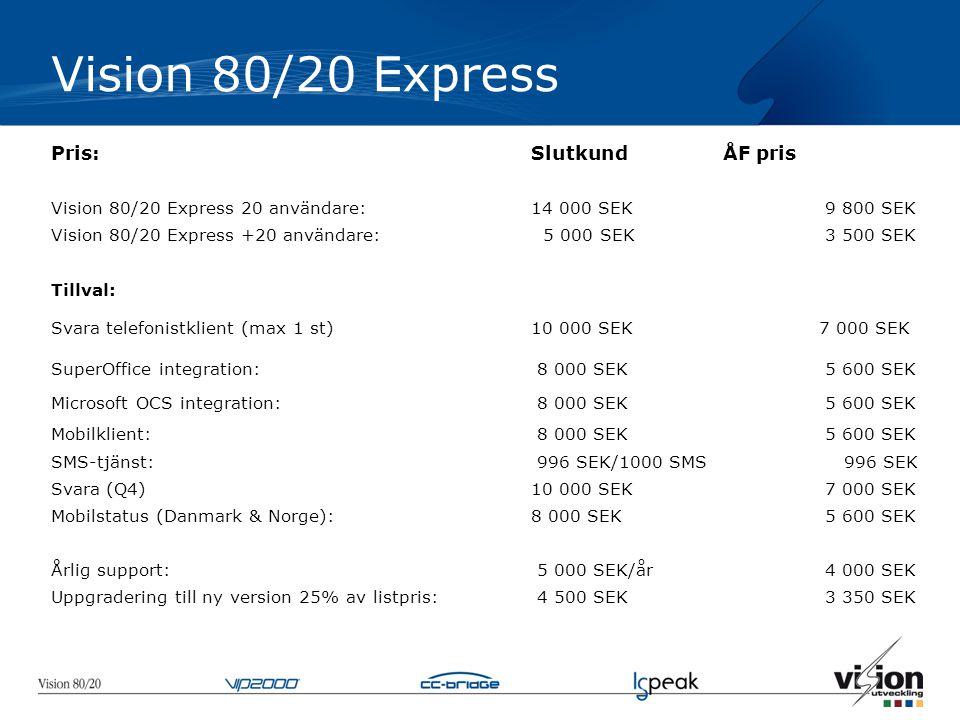 Vision 80/20 Express Pris:SlutkundÅF pris Vision 80/20 Express 20 användare:14 000 SEK 9 800 SEK Vision 80/20 Express +20 användare: 5 000 SEK 3 500 SEK Tillval: Svara telefonistklient (max 1 st)10 000 SEK7 000 SEK SuperOffice integration: 8 000 SEK 5 600 SEK Microsoft OCS integration: 8 000 SEK 5 600 SEK Mobilklient: 8 000 SEK 5 600 SEK SMS-tjänst: 996 SEK/1000 SMS 996 SEK Svara (Q4)10 000 SEK 7 000 SEK Mobilstatus (Danmark & Norge): 8 000 SEK 5 600 SEK Årlig support: 5 000 SEK/år 4 000 SEK Uppgradering till ny version 25% av listpris: 4 500 SEK 3 350 SEK