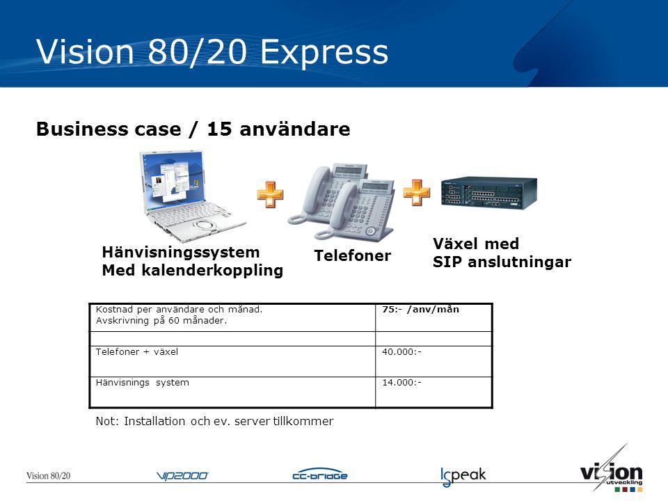 Vision 80/20 Express Business case / 15 användare Telefoner Växel med SIP anslutningar Hänvisningssystem Med kalenderkoppling Kostnad per användare och månad.