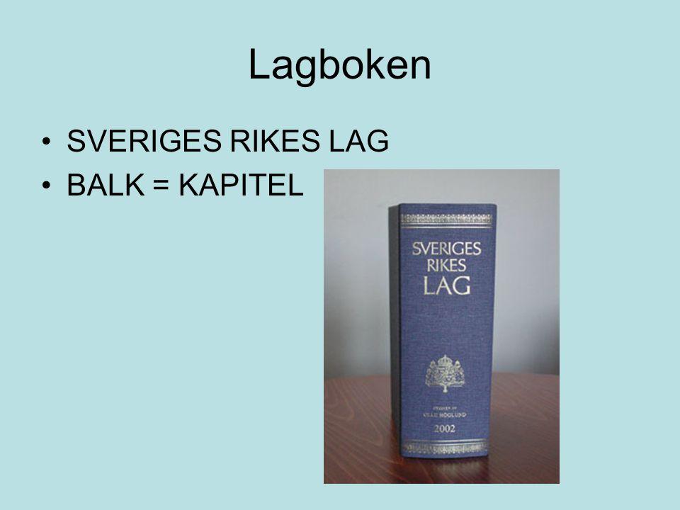 Lagboken •SVERIGES RIKES LAG •BALK = KAPITEL