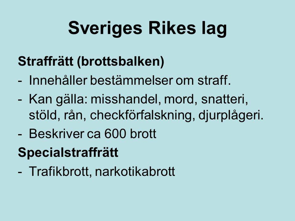 Sveriges Rikes lag Straffrätt (brottsbalken) -Innehåller bestämmelser om straff. -Kan gälla: misshandel, mord, snatteri, stöld, rån, checkförfalskning