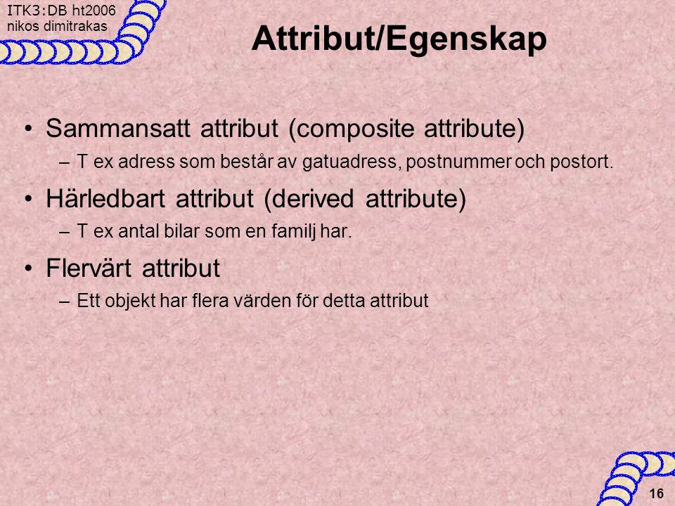 ITK3:DB h t2006 nikos dimitrakas 16 Attribut/Egenskap •Sammansatt attribut (composite attribute) –T ex adress som består av gatuadress, postnummer och postort.