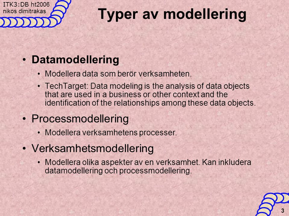 ITK3:DB h t2006 nikos dimitrakas 3 Typer av modellering •Datamodellering •Modellera data som berör verksamheten.