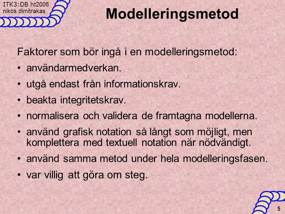 ITK3:DB h t2006 nikos dimitrakas 5 Modelleringsmetod Faktorer som bör ingå i en modelleringsmetod: •användarmedverkan.